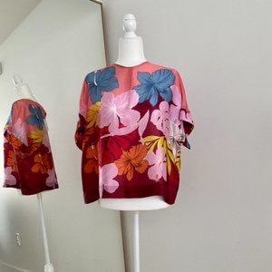 Bagutta Milan 100% Silk Floral Blouse